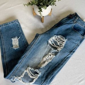 Boohoo highly distressed jeans 6 blue